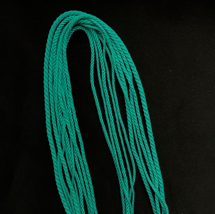 Гайтан шелковый шнур Бирюзовый Tiffany Blue без замка 60 см